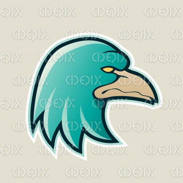 Persian Green Eagle Head Cartoon Icon Vector Illustration stock illustration