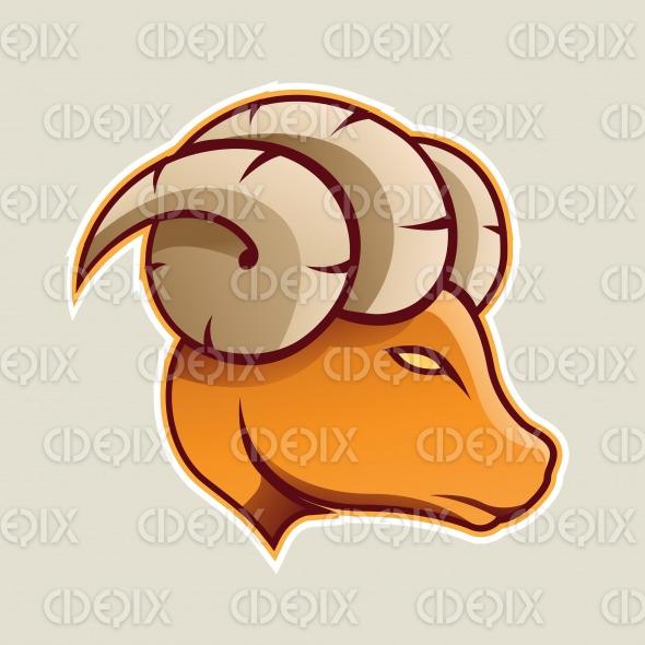 Orange Aries or Ram Cartoon Icon Vector Illustration stock illustration