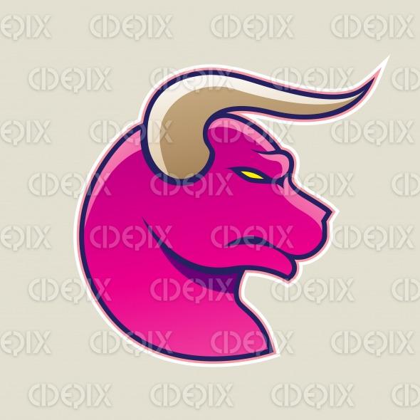 Magenta Cartoon Bull Icon Vector Illustration stock illustration