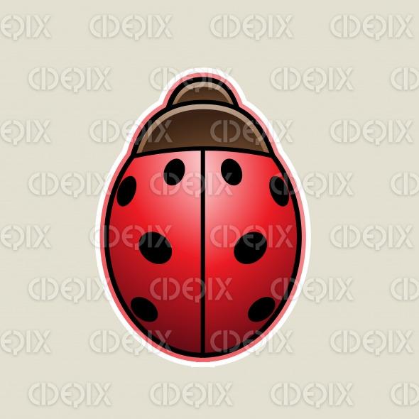 Red Cartoon Ladybug Icon Vector Illustration stock illustration