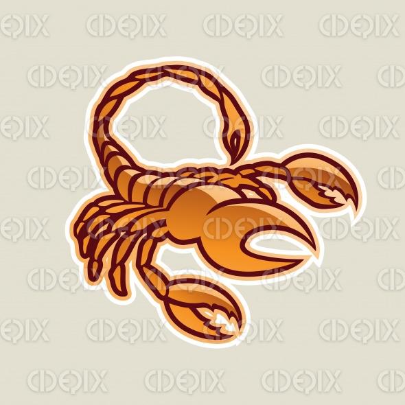 Orange Glossy Scorpion Icon Vector Illustration stock illustration