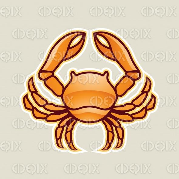 Orange Glossy Crab or Cancer Icon Vector Illustration stock illustration