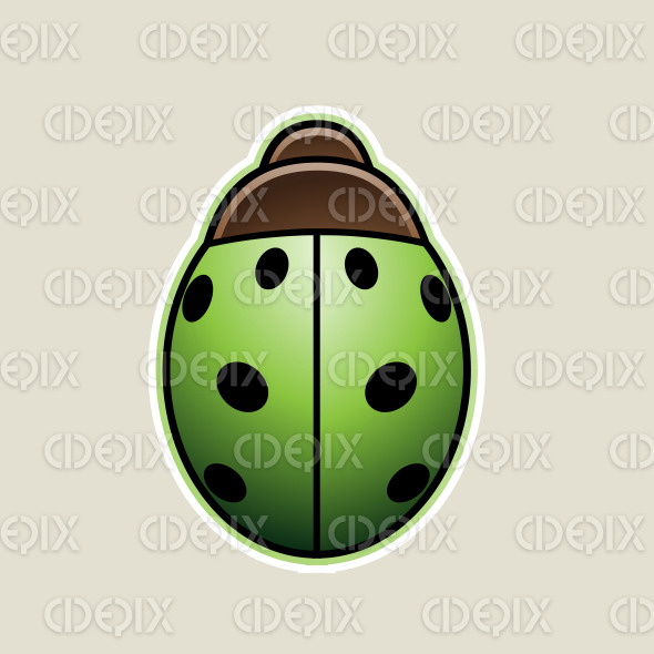 Green Cartoon Ladybug Icon Vector Illustration stock illustration