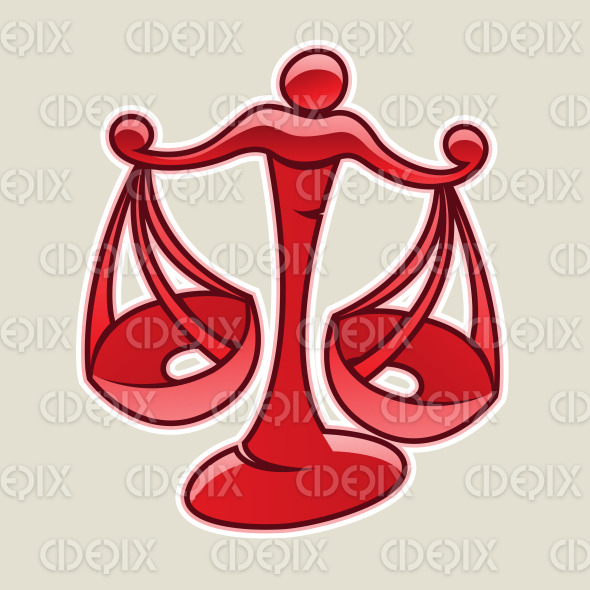 Red Scales and Libra Icon Vector Illustration stock illustration