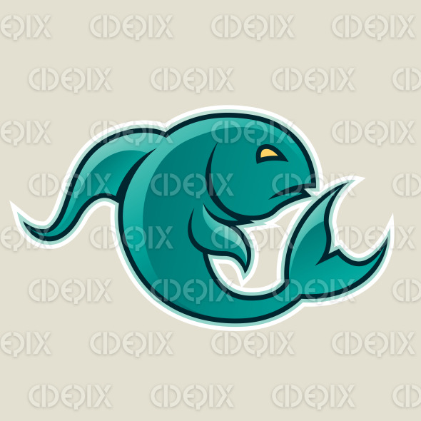 Persian Green Curvy Fish or Pisces Icon Vector Illustration stock illustration
