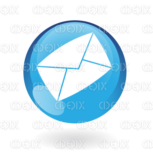 envelope email icon on blue glossy button stock illustration