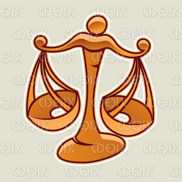 Orange Scales and Libra Icon Vector Illustration stock illustration