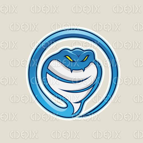 Blue Cobra Snake Cartoon Icon Vector Illustration stock illustration