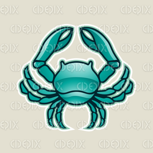 Persian Green Glossy Crab or Cancer Icon Vector Illustration stock illustration