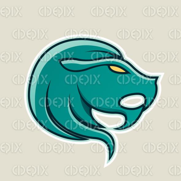 Persian Green Lion or Leo Icon Vector Illustration stock illustration