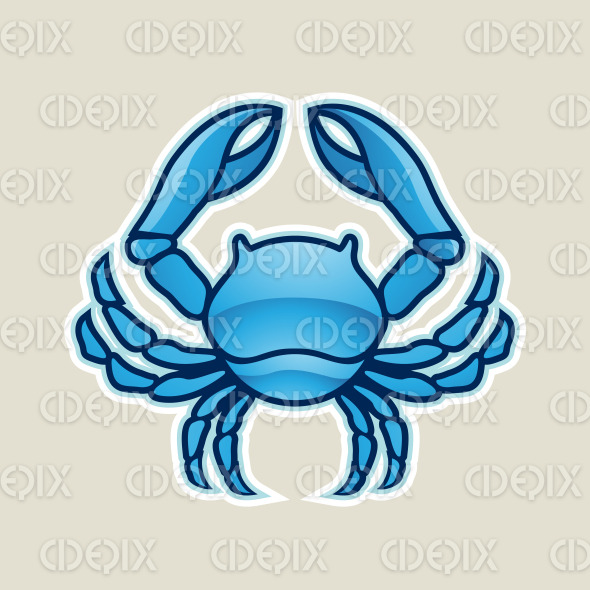 Blue Glossy Crab or Cancer Icon Vector Illustration stock illustration