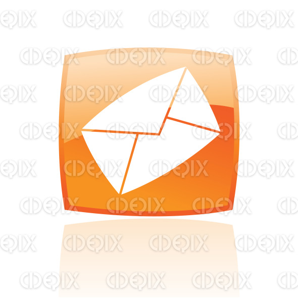 envelope email icon on orange glossy button stock illustration