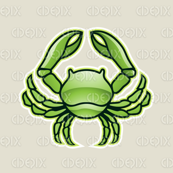 Green Glossy Crab or Cancer Icon Vector Illustration stock illustration