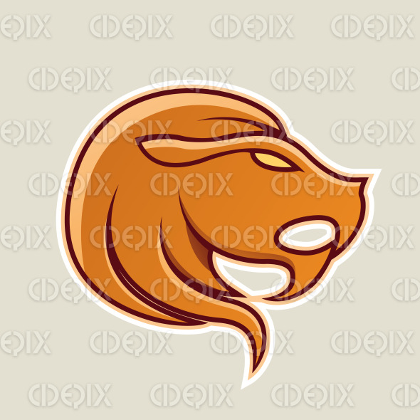 Orange Lion or Leo Icon Vector Illustration stock illustration