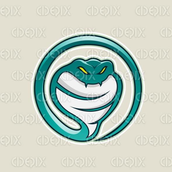 Persian Green Cobra Snake Cartoon Icon Vector Illustration stock illustration