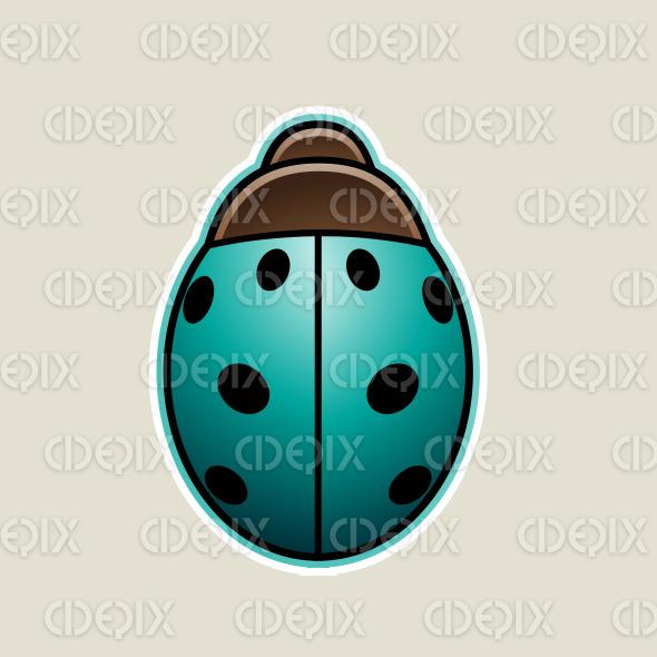 Persian Green Cartoon Ladybug Icon Vector Illustration stock illustration
