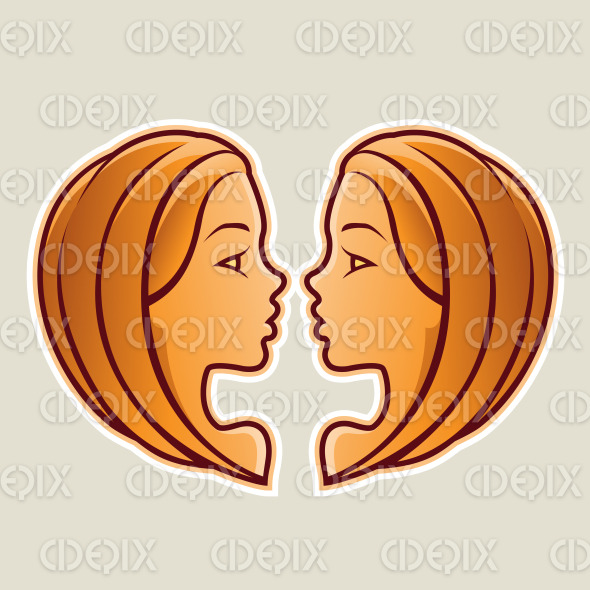 Orange Gemini or Twins Icon Vector Illustration stock illustration