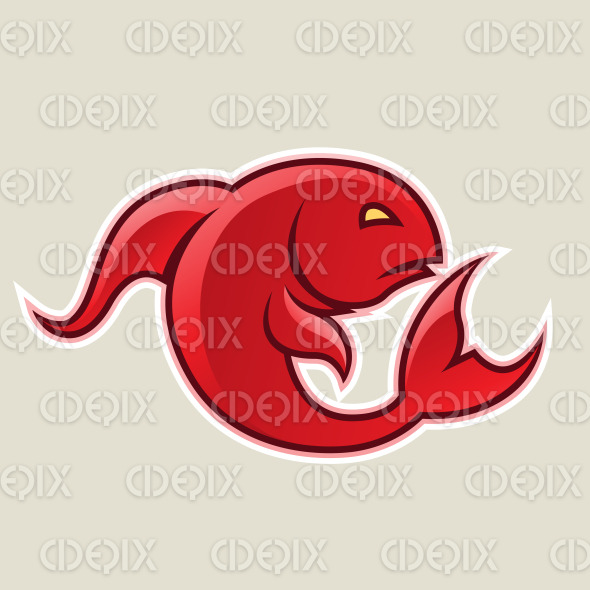 Red Curvy Fish or Pisces Icon Vector Illustration stock illustration