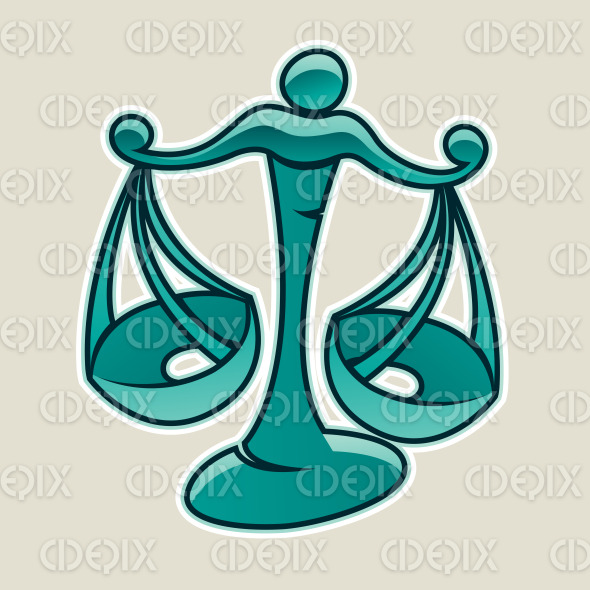 Persian Green Scales and Libra Icon Vector Illustration stock illustration