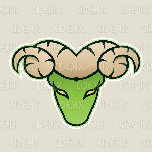 Green Aries or Ram Icon Front View Vector Illustration stock illustration