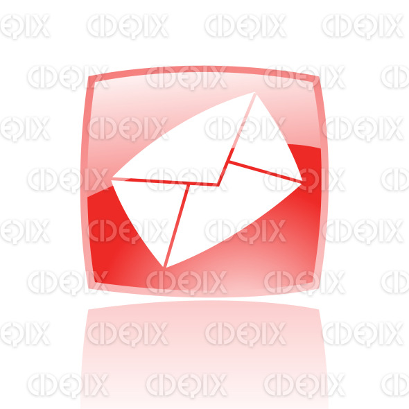 envelope email icon on red glossy button stock illustration
