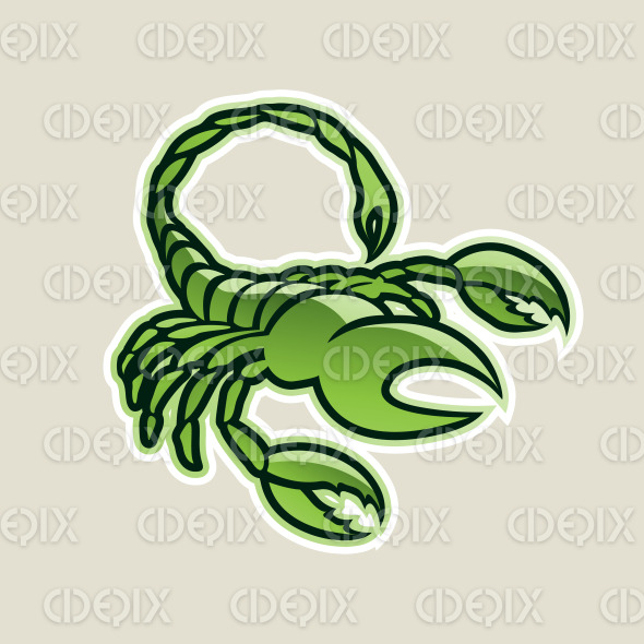 Green Glossy Scorpion Icon Vector Illustration stock illustration