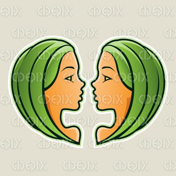 Green Gemini or Twins Icon Vector Illustration stock illustration