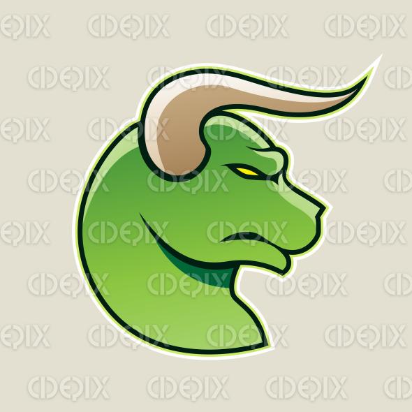 Green Cartoon Bull Icon Vector Illustration stock illustration
