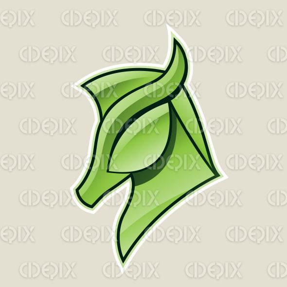 Green Glossy Horse Head Icon Vector Illustration stock illustration