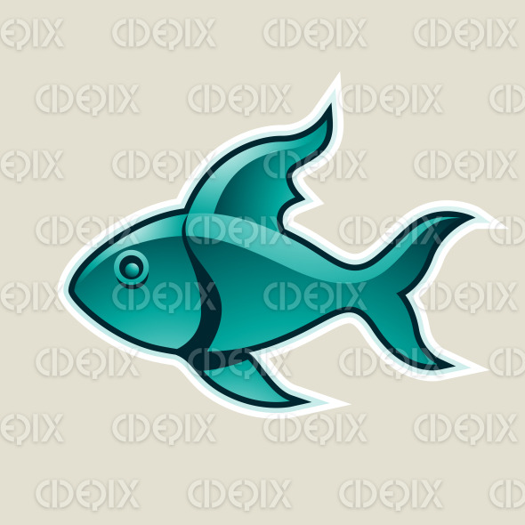 Persian Green Fish or Pisces Icon Vector Illustration stock illustration