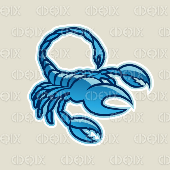Blue Glossy Scorpion Icon Vector Illustration stock illustration