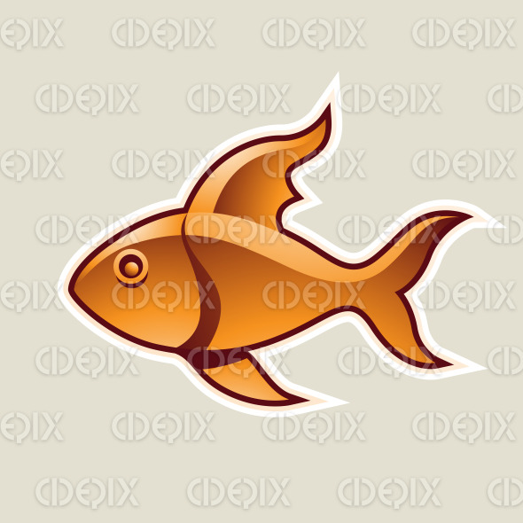 Orange Fish or Pisces Icon Vector Illustration stock illustration