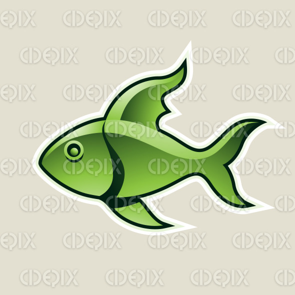 Green Fish or Pisces Icon Vector Illustration stock illustration
