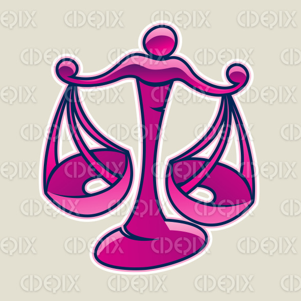 Magenta Scales and Libra Icon Vector Illustration stock illustration