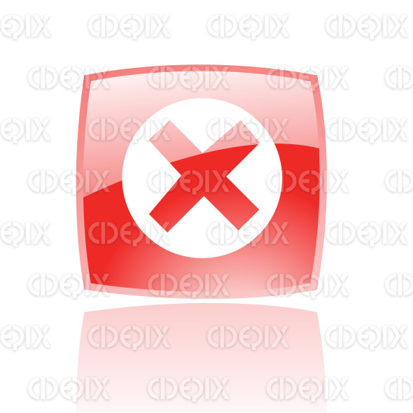 error icon on red glossy button stock illustration