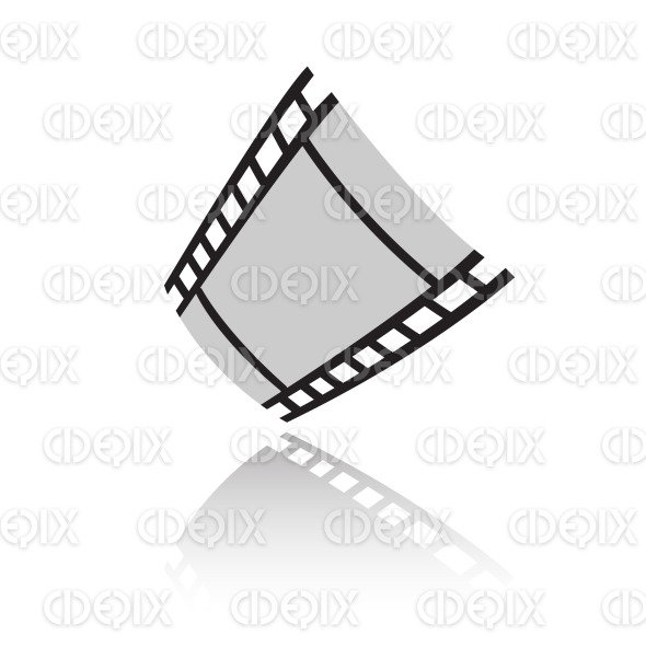 black simplistic film reel (strip) icon stock illustration