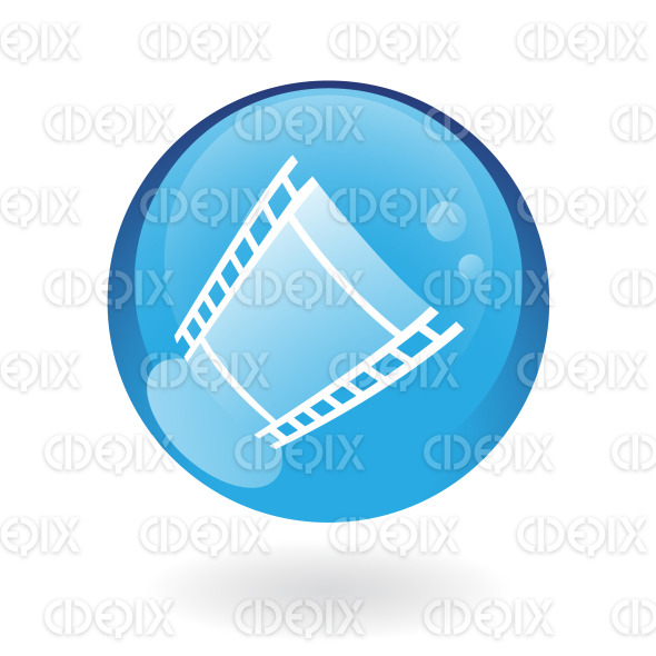 film reel (strip) icon on blue glossy button stock illustration