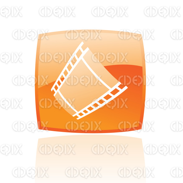 film reel (strip) icon on orange glossy button stock illustration