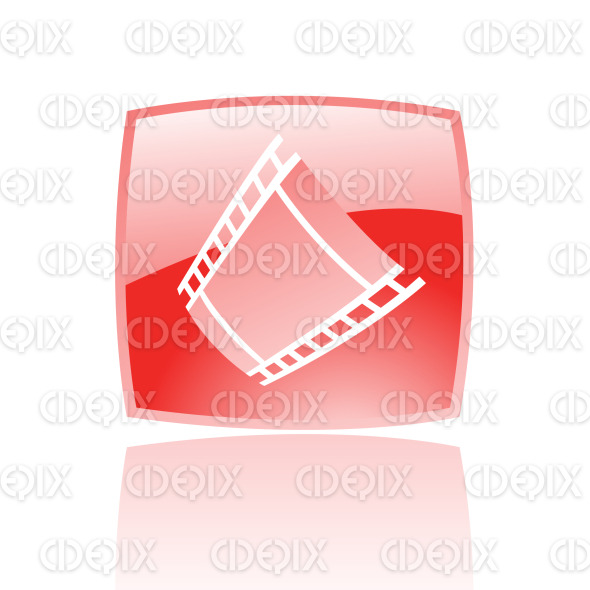 film reel (strip) icon on red glossy button stock illustration