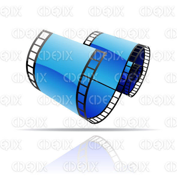 blue glossy film reel (strip) stock illustration