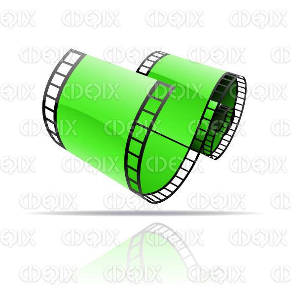 green glossy film reel (strip) stock illustration