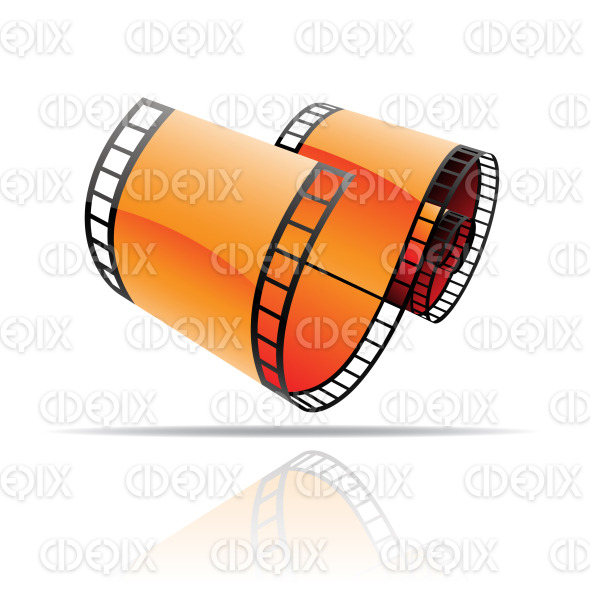 orange glossy film reel (strip) stock illustration