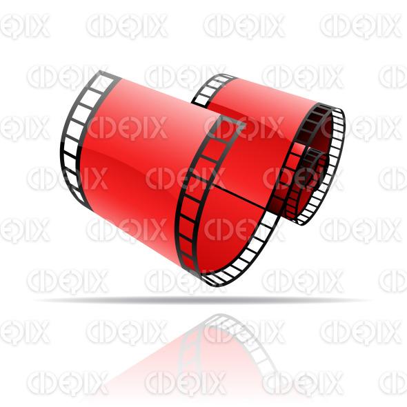 red glossy film reel (strip) stock illustration