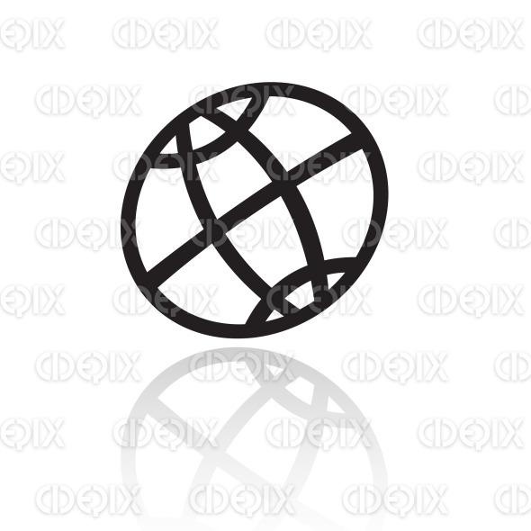 line art black globe icon stock illustration