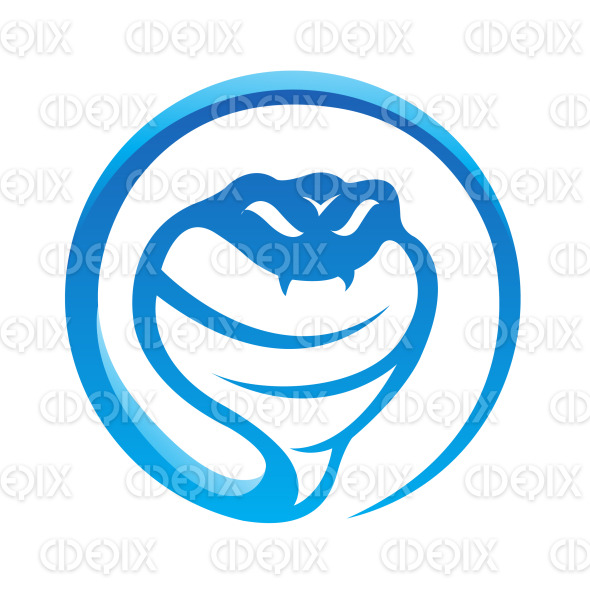 glossy blue cobra snake icon stock illustration