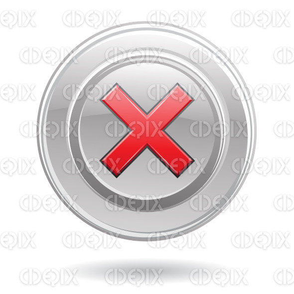 red error sign on metallic silver disk stock illustration
