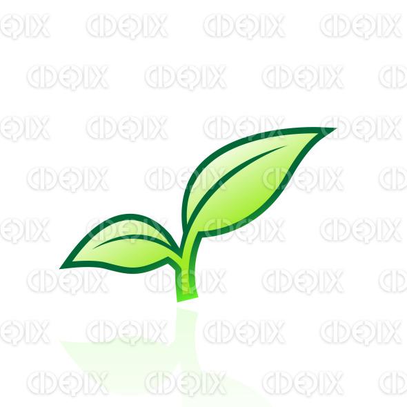 green glossy apple leaf icon stock illustration