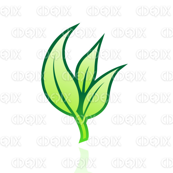 green glossy leaves icon stock illustration