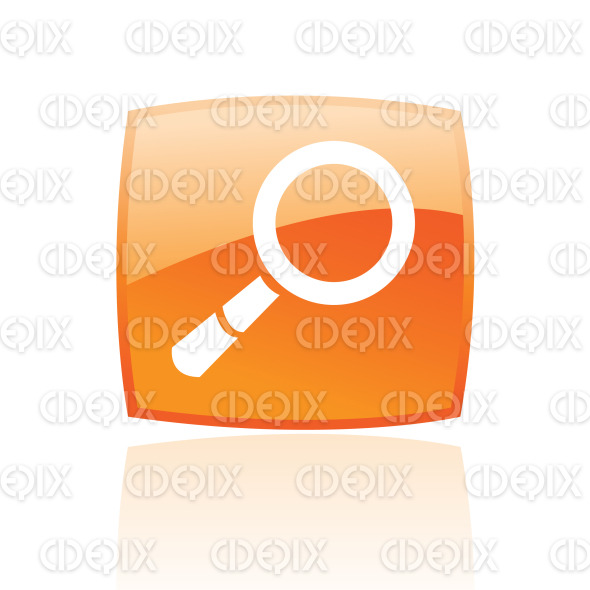 magnifier icon on orange glossy button stock illustration