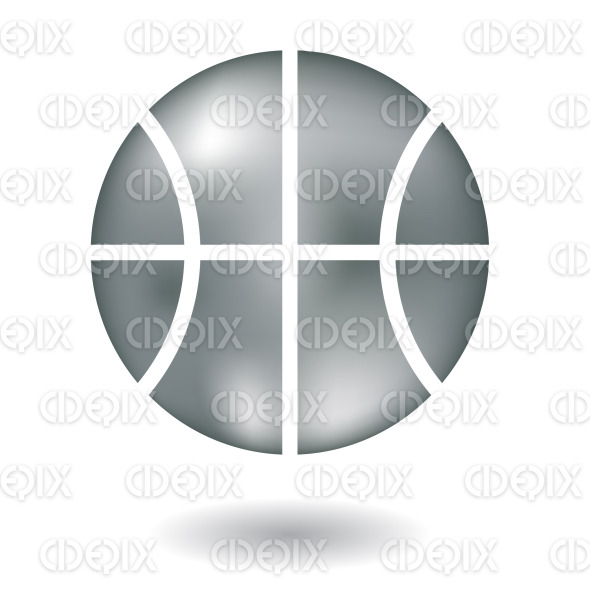 metallic silver basketball ball icon stock illustration